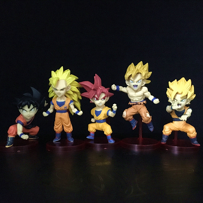 5Pcs/Set Dragon Ball Z Figure Set Dragonball WCF Super Battle Of Saiyans God Goku Red Hair PVC Action Figures Model Toys