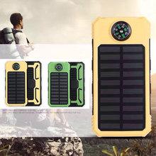 20000mAh wodoodporny kompas bateria słoneczna przenośna ładowarka podwójne wyjście USB bateria zewnętrzna o dużej pojemności słoneczne zasilanie mobilne tanie tanio centechia Panel słoneczny Monokryształów krzemu DZ00909-01 145*75*20mm Outdoor compass solar mobile power Suitable for all devices with USB charging