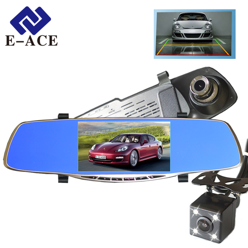 E-ACE Car DVR Dash Cam Full HD 1080P 5 Inch IPS Rear View Mirror Camcorder Auto Video Registrator Dual Lens Camera Dvr Recorder