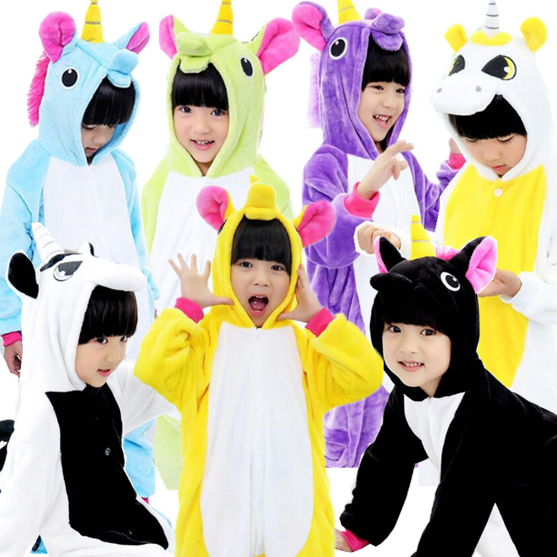 Children Flannel Costumes Yellow Black Unicorn Sleepwear font b Kids b font Onesie Pajamas Cosplay Costume