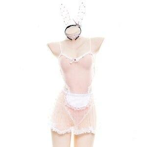 Кружевное женское платье с кроликом, костюм для косплея, сексуальное, эротическое белье, наряд, нарядный кролик, девушка, японское кружево, фея, звезда, принт, Babydoll