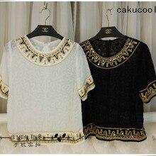 Cakucool, расшитые блестками рубашки с коротким рукавом, женская шифоновая блузка с круглым вырезом, Сексуальная рубашка с вышивкой, шикарные тонкие богемные летние топы для женщин