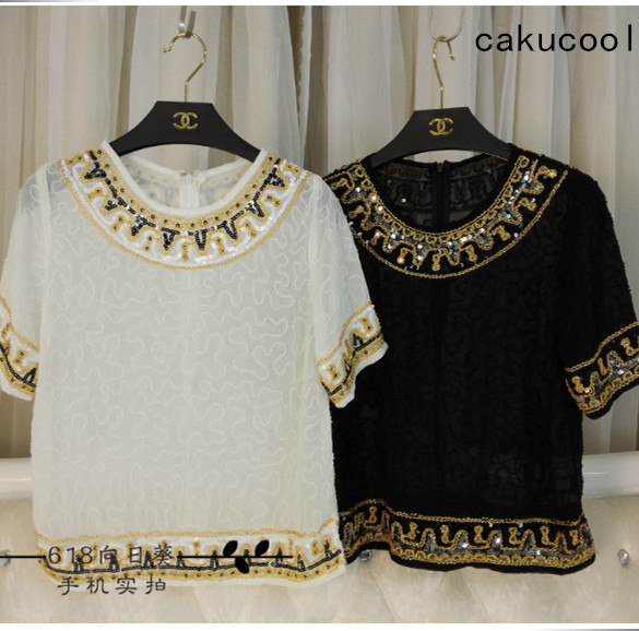 Cakucool Sequined Short Sleeve Shirts Women Chiffon Blouse O-neck Sexy Embroid Shirt Bling Slim Bohemian Summer Tops Female