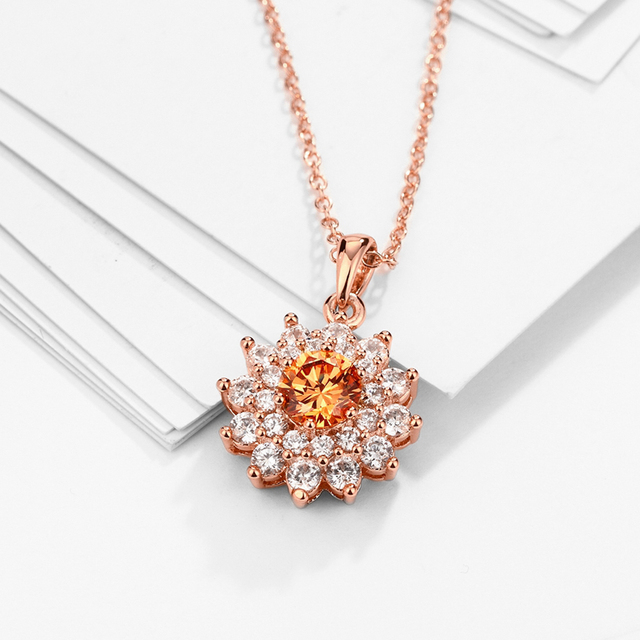 Women's Fashion Crystals Rose Necklace and Pendant