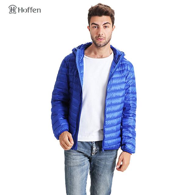 Hoffen marca de ropa de invierno de los hombres abajo cubren diseño slim fit con capucha de down chaqueta de cremallera color sólido ligero puffer capa WS01