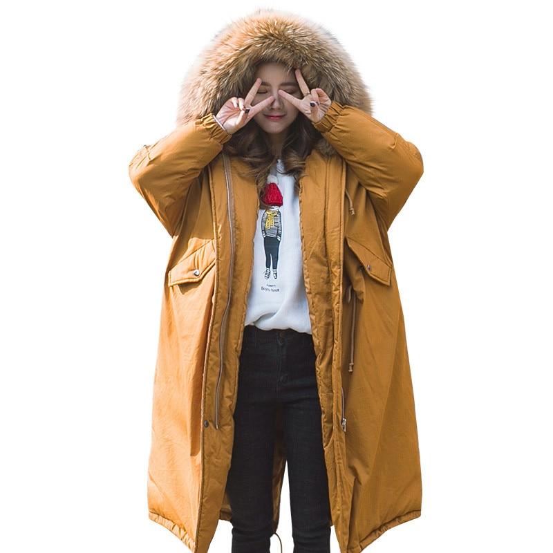 купить Real Fur Thickening Military Long Parka Cotton Padded Warm Hooded Winter Jacket Oversized Fur Parka Women Girls Jacket TT3432 недорого