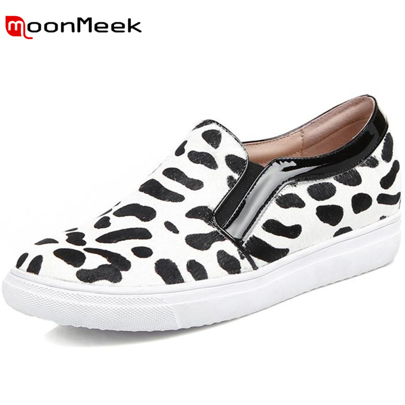 ФОТО MoonMeek 2017 Spring autumn loafers shoes fashion popular big size 33-40 flat platform shoes horse hair leopard women shoes