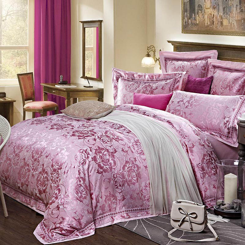 Pink Silk Bedding Set King Size Bed Linen Queen Size