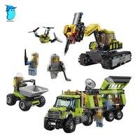 StZhou Model Building Kits Compatible With City Operations Center Truck Excavator Dumper 3D Brick Model Building