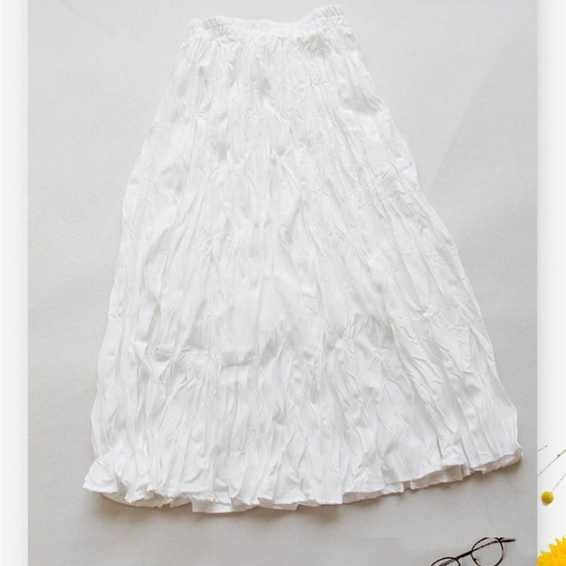Free Shipping 2019 Fashion Casual Spring Summer Vintage Long Mid-calf A-line Chiffon Pleated Skirts Elastic Waist White Skirts