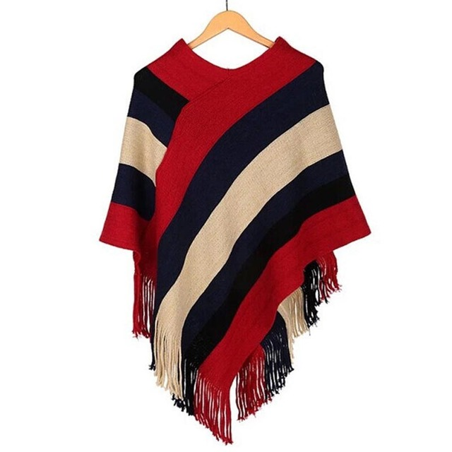 Tricot Black Striped Poncho | Ponchos and Capes