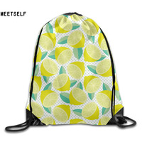 3D Print Cartoon Lemon Pattern Shoulders Bag Women Fabric Backpack Girls Beam Port Drawstring Travel Shoes