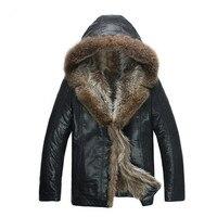 2017 moda de los hombres de alta calidad Abrigos imitación chaqueta de cuero mapache moda Pieles de animales collar Chaquetas hombres Venta caliente