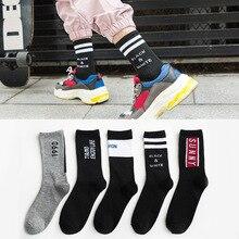 10pcs=5 pairs European American fashion street tide socks ins mens personality high tube hip hop cotton crew sport