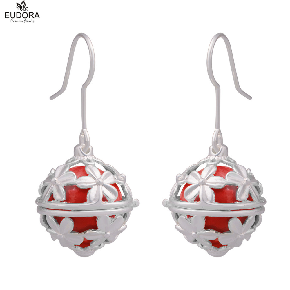 Eudora Harmony Ball Earrings Fashion Copper Daisy Angel Caller For Women 12mm Harmony Bola Cage Dangle Earring Brinco De Bola