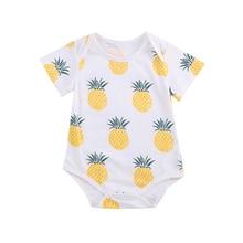 Одежда для новорожденных мальчиков ясельного возраста с коротким рукавом и принтом в виде героев мультиков для ананас хлопковые детские комбинезоны пижамы