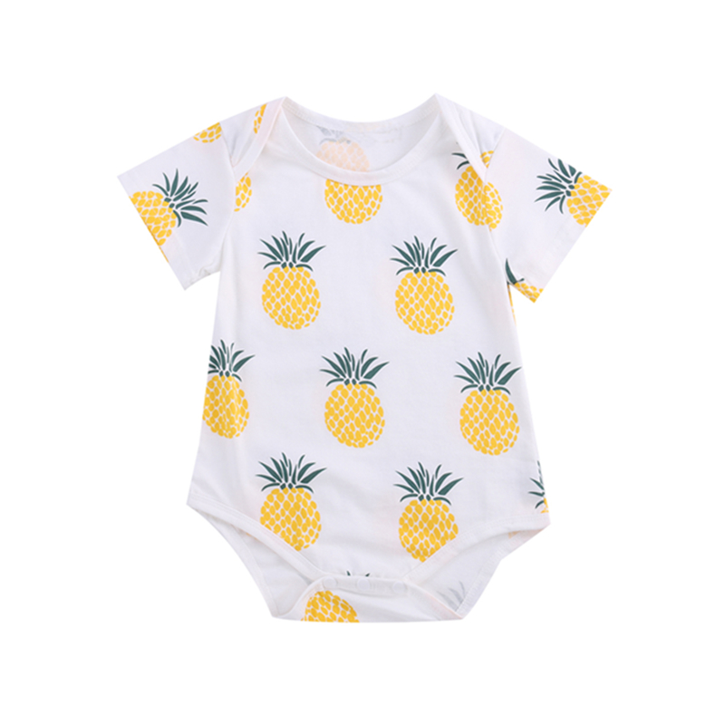 New Baby Boy Clothes Toddlers Cartoon Short Sleeve Pineapple Cotton Children Rompers Baby Pajamas Jumpsuits
