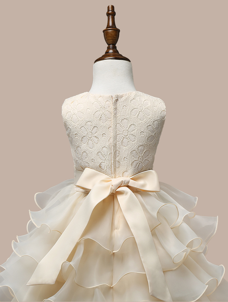 0-7 Years Mutlti Layer White Pink Flower Girl Dress 7