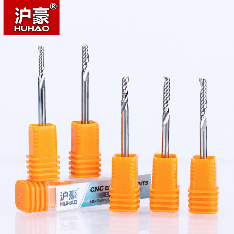HUHAO 1pc 3.175mm One Flute Spiral Router Bits for Wood fresa CNC End Mill Tungsten Carbide Router Tool PCB Milling Cutter ул шумилова д 13 кор 2 квартиру