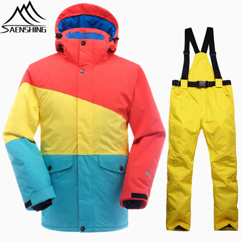 SAENSHING Snowboarding Suits Ski Suit Men Waterproof Thermal Snowboard Jacket Ski Pants Breathable Outdoor Snow Set