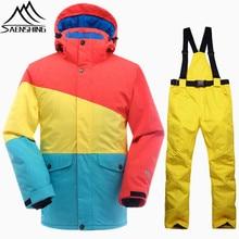 SAENSHING Зимний лыжный костюм мужские сноубордические костюмы непромокаемые термальные сноубордические куртки лыжные брюки дышащий открытый зимний комплект