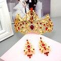 Joyas de estilo Barroco de la vendimia Exagerada de Lujo Colorido Grande Corona De Oro Plateado TapesCrystal Hairband Mujeres Accesorios Para El Cabello