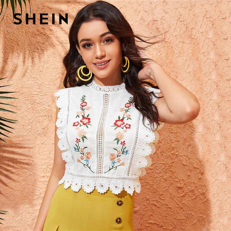SHEIN белая блузка с кружевной отделкой и вышивкой, Женские топы и блузки, Boho, без рукавов, облегающий летний топ