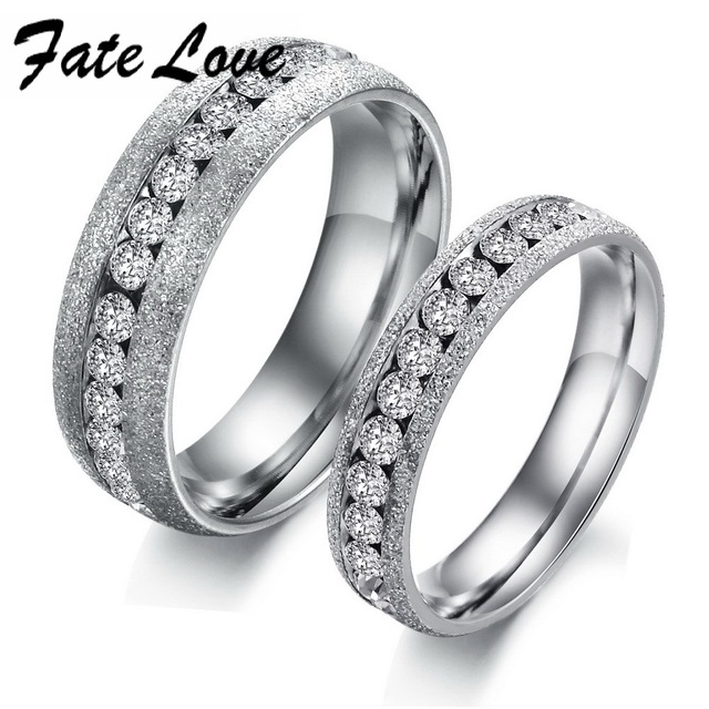 fate love luxury wedding rings for men women couple jewelry stainless steel white color with full - Luxury Wedding Rings
