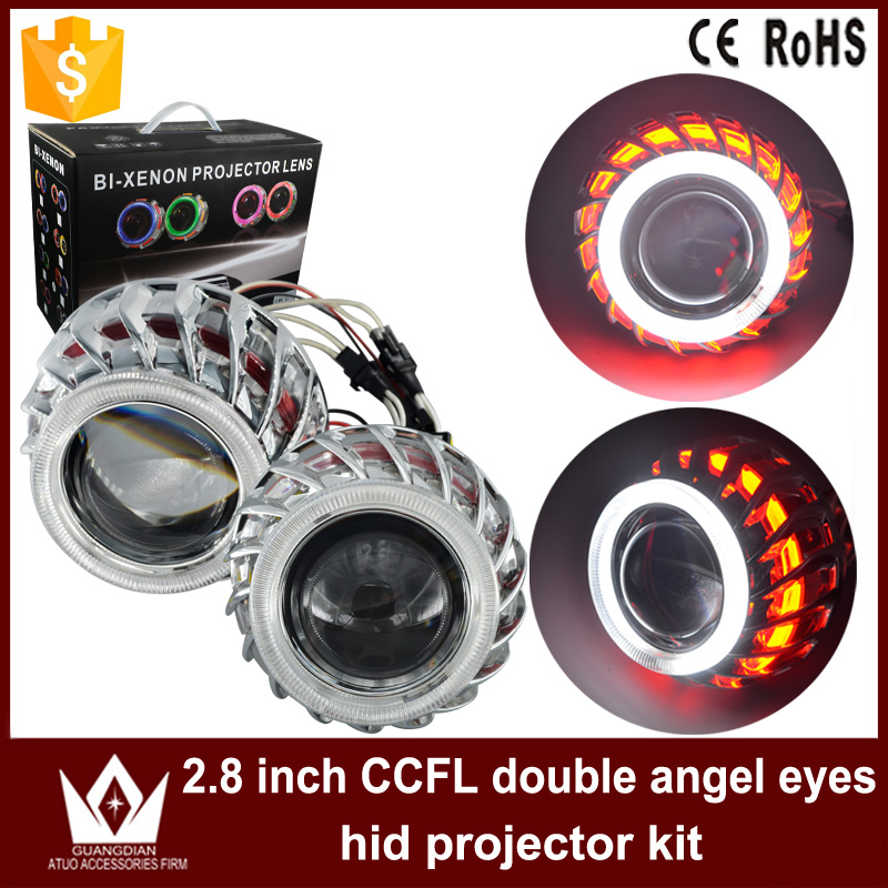 Tcart 1Set New Auto Led Headlight Car Styling 2.8 Inch Double CCFL Angel Eyes Halo Ring Lens For HID Head Lamp Bi-xenon lens kit hot selling 360 degree cob led devil eyes headlights demon eye for 3 0 inch car headlight projector lens ring car styling