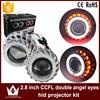 Tcart 1Set New Auto Led Headlight Car Styling 2.8 Inch Double CCFL Angel Eyes Halo Ring Lens For HID Head Lamp Bi-xenon lens kit