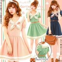 Mori dziewczyny japoński styl bowknot dress navy sailor kostium różowy ciemny niebieski zielony paski sukienki vestidos córka cosplay kostiumy