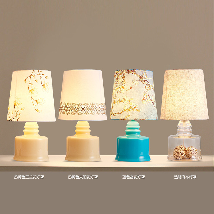 TUDA 22X43cm Free shipping Glass Table Lamp Cloth Lampshade Table Lamp Warm and Simple Design Personalized Creative Table Lamp