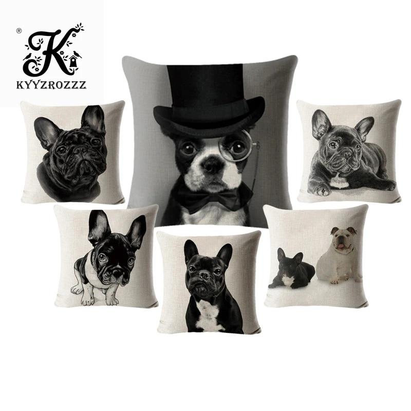 french bulldog pillow case animals linen cotton 45 45 square dog cushion cover for sofa home decorative printed throw pillowcase