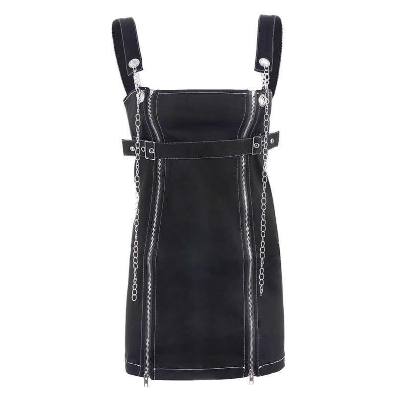 Rapwriter с открытыми плечами панк металлическая цепочка джинсовый ремень платье для женщин 2019 уличная Весенняя молния ремень рукав сексуальное мини платье