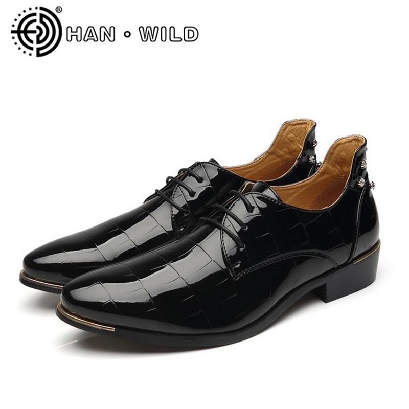 men dress shoes formal patent leather shoes pointed toe oxfords mens oxford flats lace up business mens shoes size 37-48