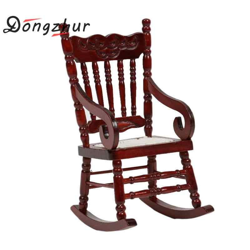 Dongzhur Dollhouse Miniatures 1:12 Accessories Coffee Rocking Chair Mini Furniture Model Wooden Doll House Miniature Chair Toys