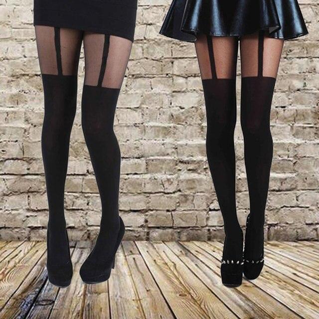 Nouveau Dernière Conception Mock Jarretelles Collants Confortable Collants Bas Très À La Mode À Motifs Collants pour Femme