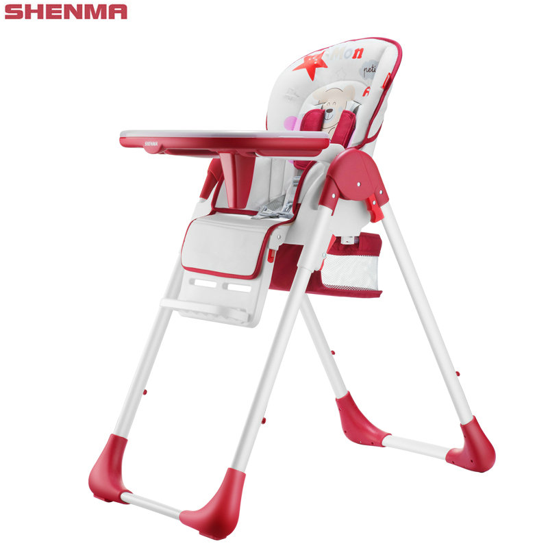 SHENMA 4 in 1 adjustable baby feed chair, fold baby highchair, portable baby dining table chair soft portable baby feed chair gift pillow and rope 4wheels baby booster seat light baby feed chair