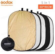 Круглый Прямоугольный Отражатель Godox 5 в 1, 60*90 см, складной рассеиватель света, диск, черный, серебристый, золотой, белый