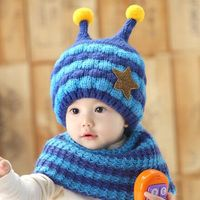 2016 Winter Baby Hats Scarf Sets Kids Skullies Beanie Knitted Collar Cute Bee Star Children Caps