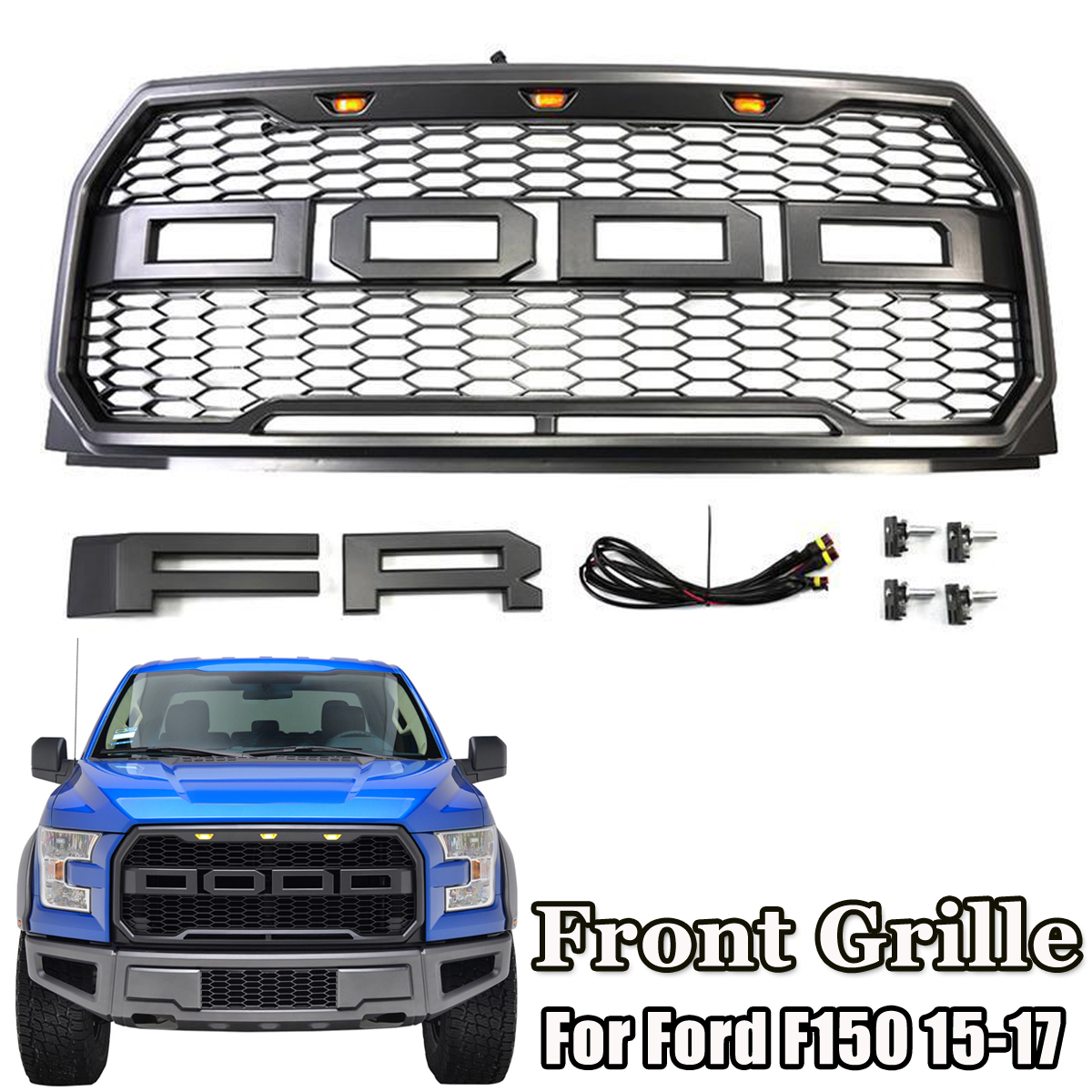 цена Car Front Grille with Emblem Housing Amber Led Light Raptor Style for Ford F150 F-15 2015 2016 2017