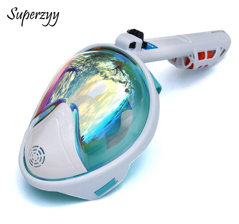 Subaquática anti nevoeiro máscara de mergulho snorkel natação treinamento mergulho mergulho 2 em 1 rosto cheio máscara para gopro câmera