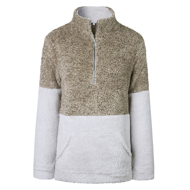 TTOU Utumn Winter Women's 1/4 Zipper Sherpa Knit Soft Fleece Pullover ColorBlock Sweater Outwear Coat Kangaroo Pockets