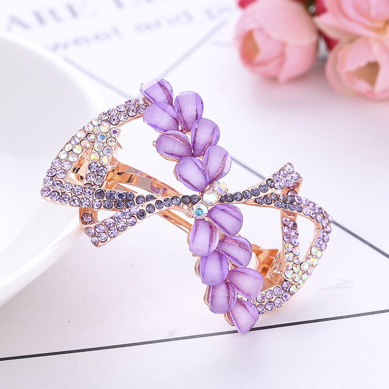 Korean Version Women Hair Clips Alloy Crystal Rhinestone Hollow Bowknot Barrettes   Headwear   Bridal Headdress 1 pc