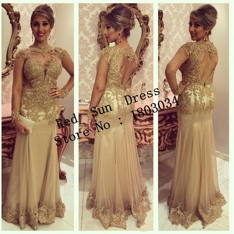 69b904d9a0e1d conew rs4078 free shipping 2015 fashion gold sheath evening dresses long  sleeves floor length lace beading formal