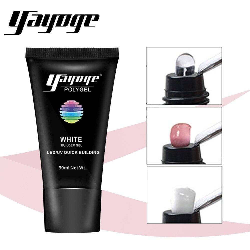 Yayoge 3in1 гель  лаки  для наращивания ногтей прозрачный розовый белый ногти акриловая порошковая смола набор лак для ногтей