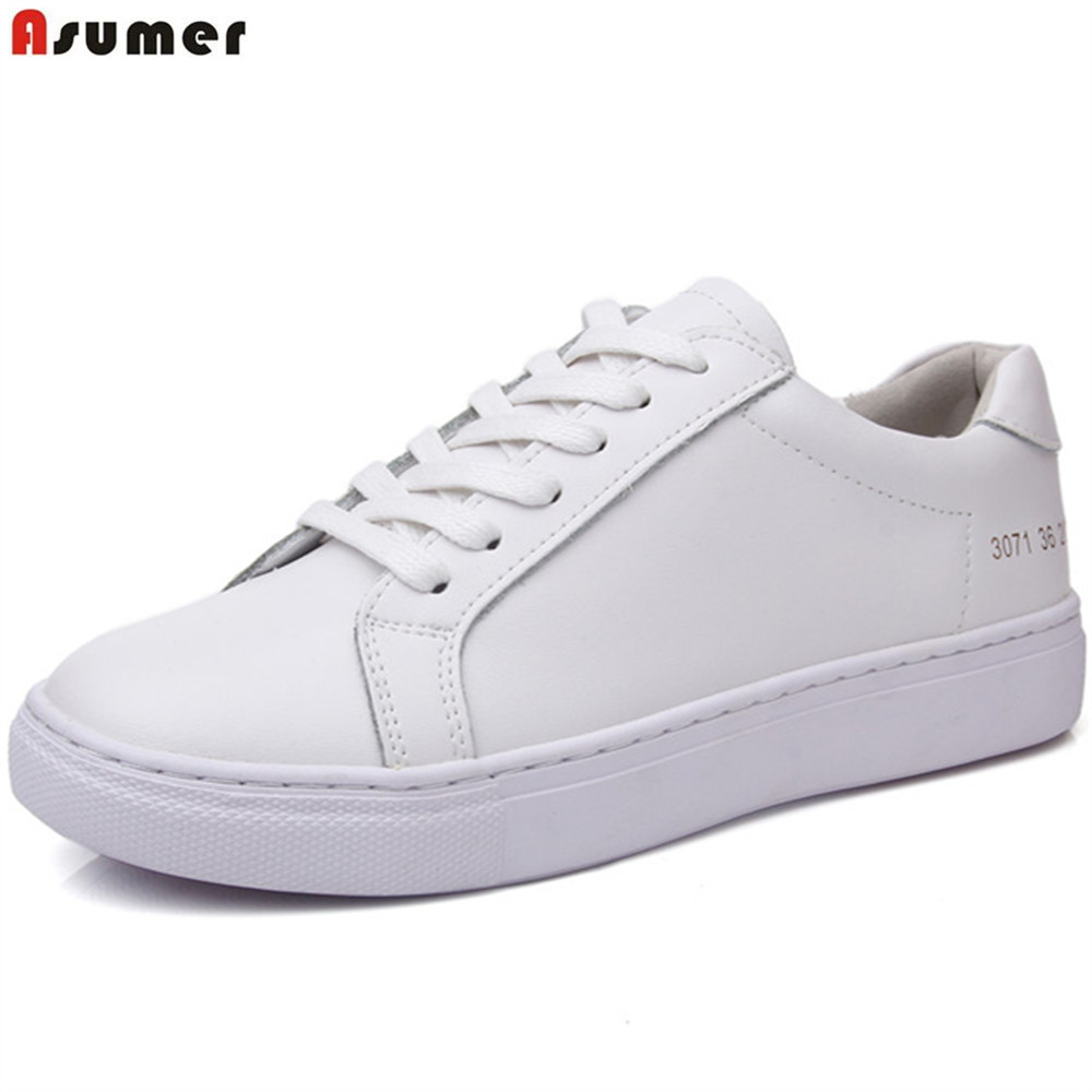 Asumer white fashion spring autumn new arrival women shoes genuine leather flats shoes round toe casual sneakers single shoes asumer black fashion spring autumn ladies shoes round toe lace up casual women flock cow leather shoes flats