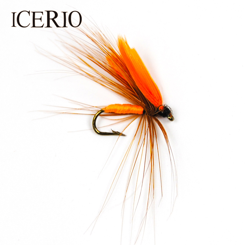 ICERIO 6PCS Orange Wing Quil Flies Trout Fly Fishing Lures #12 redfish seatrout fly assortment collection of 6 holly flies