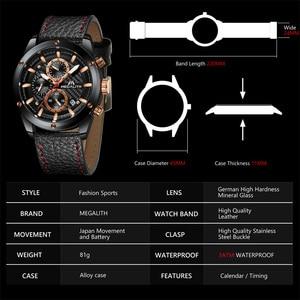 Image 5 - MEGALITH แฟชั่นทหารนาฬิกาผู้ชายกีฬานาฬิกากันน้ำ Chronograph นาฬิกาผู้ชายสายหนังนาฬิกาข้อมือควอตซ์ชาย 8004