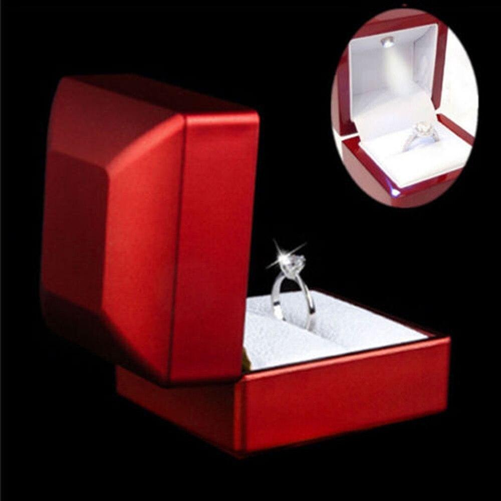 Gift-Box Jewelry Display Diamond LED Lighted Wedding-Engagement-Ring 6--6.5--5.5cm